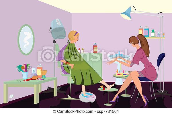 Beauty salon  client is getting pedicure - csp7731504