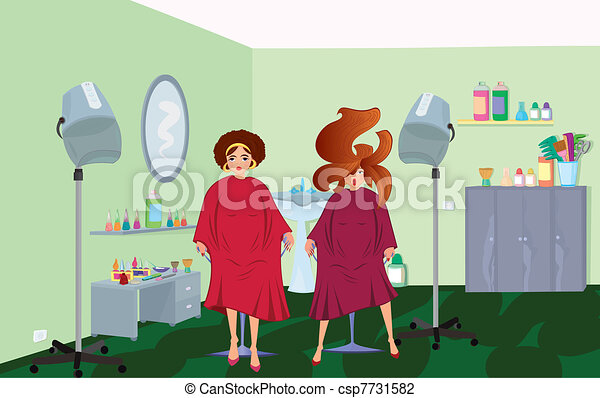 Beauty salon  clients in robes waiting for a hairdresser - csp7731582