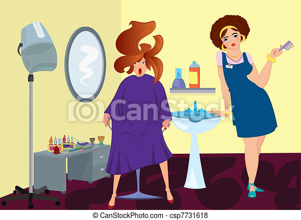 Beauty salon professional and a client near stand up blow dryer - csp7731618