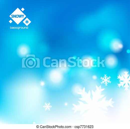 Winter snow blue christmas background - csp7731623