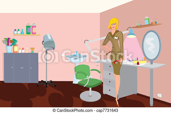 Beauty salon professional with comb and brush is standing near the chair - csp7731643