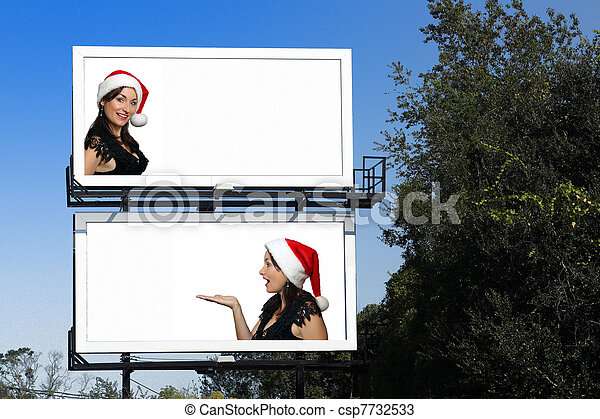 Dual Billboards with a Beautiful Santa's Helper - csp7732533