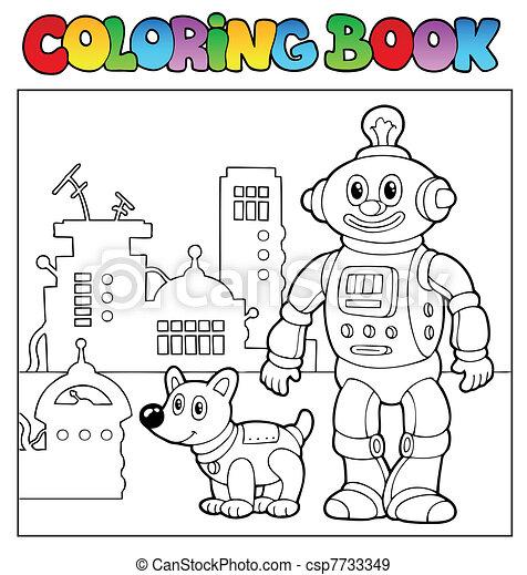 Coloring book robot theme 1 - csp7733349