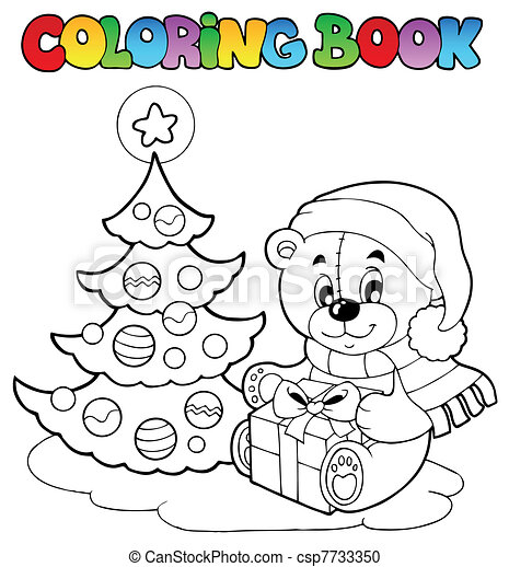 Coloring book Christmas teddy bear - csp7733350