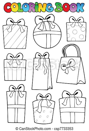 Coloring book various gifts - csp7733353