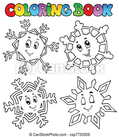 Coloring book cartoon snowflakes 1 - csp7733359