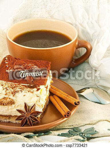 Cake tiramisu and a cup of hot coffee - csp7733421