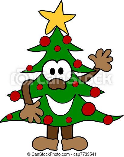 Cartoon christmas tree - csp7733541