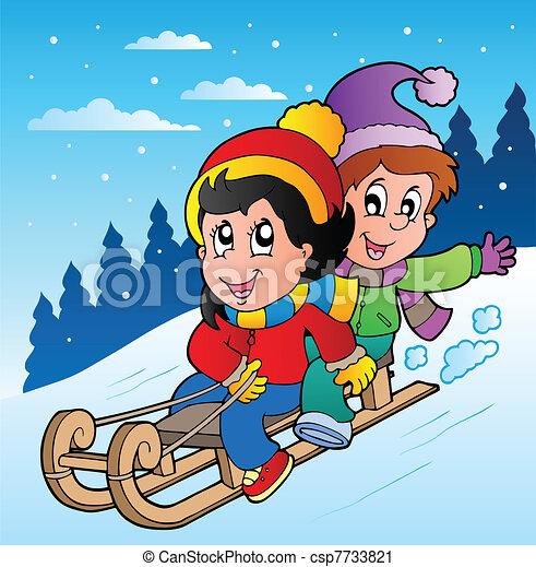 Winter scene with kids on sledge - csp7733821
