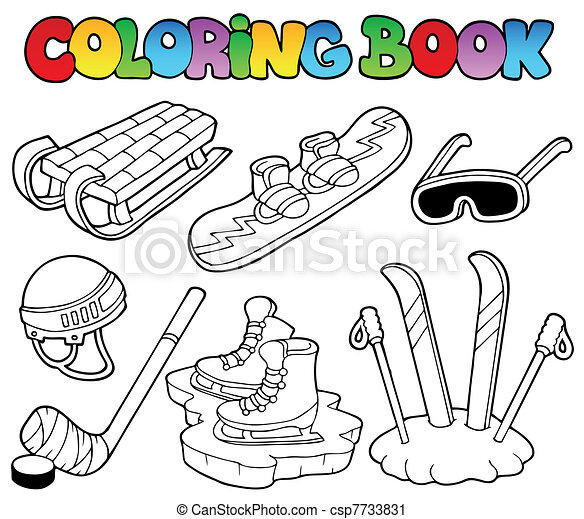 Vector Clip Art of Coloring book winter sports gear - vector ...