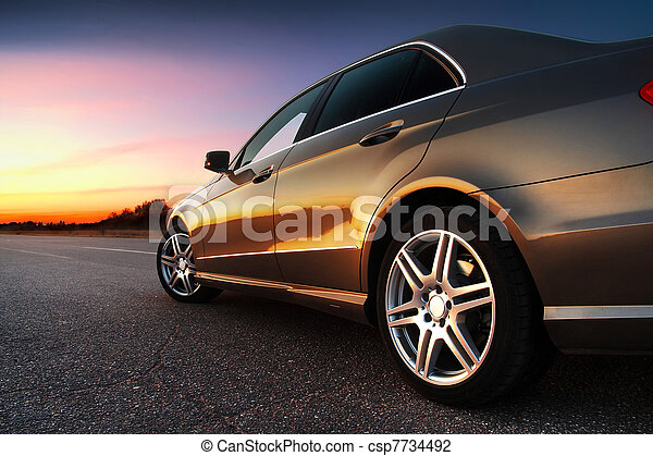 coche,  rear-side, vista - csp7734492