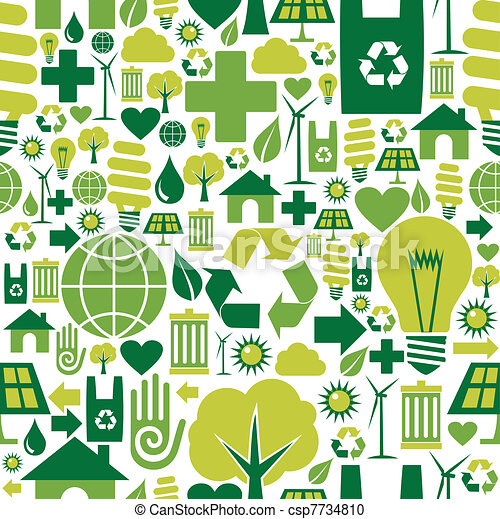Green environment icons pattern background - csp7734810