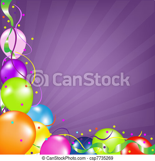 Background With Balloons With Sunburst - csp7735269