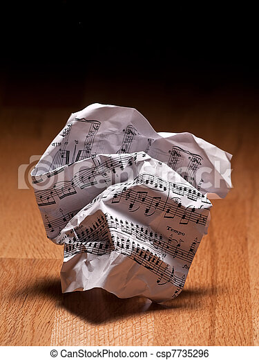 Crumpled sheet of music notes - csp7735296