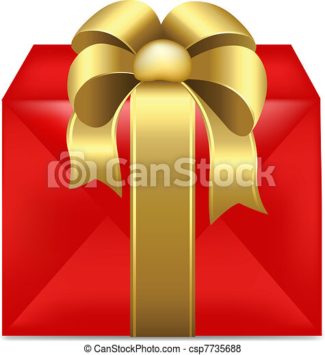 Red Gift Box With Gold Ribbon - csp7735688