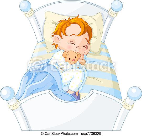 Little boy sleeping - csp7736328