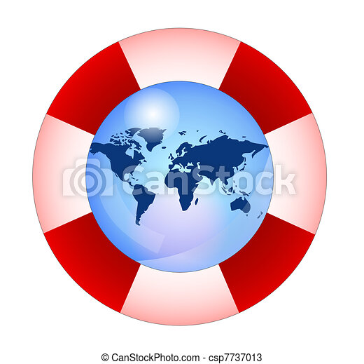 Life buoy with earth, save the earth - csp7737013