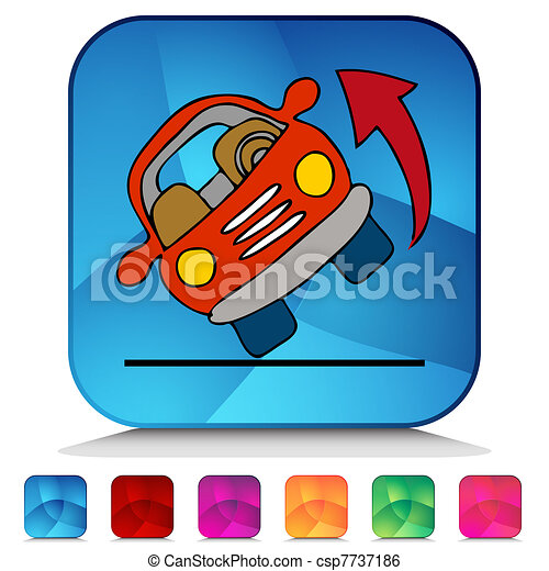 Automobile Rolling Over Shiny Button Set - csp7737186