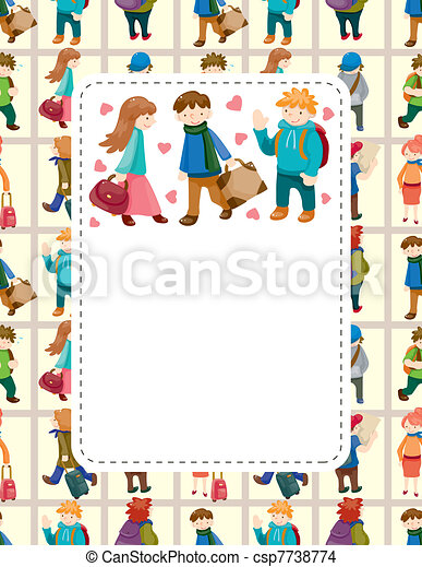 cartoon travel people card - csp7738774