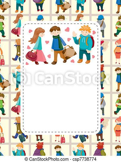 cartoon travel people card - csp7738774