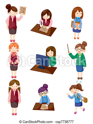 cartoon pretty office woman worker icon set - csp7738777