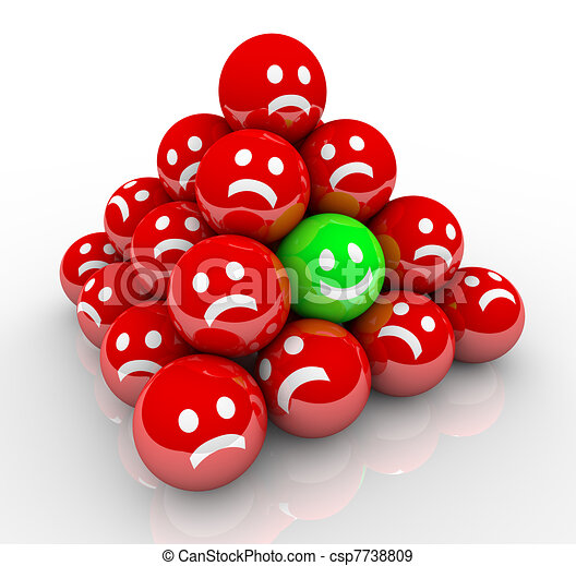 Happy Smile Face in Ball Pyramid of Sad Faces - csp7738809