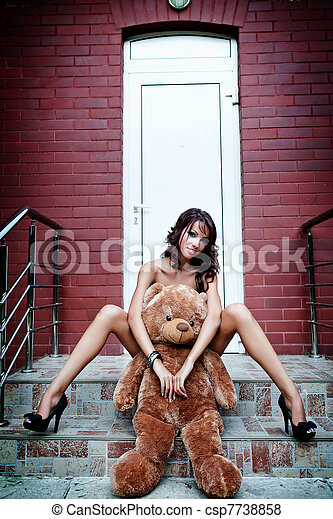 Sexy woman with her teddy bear - csp7738858