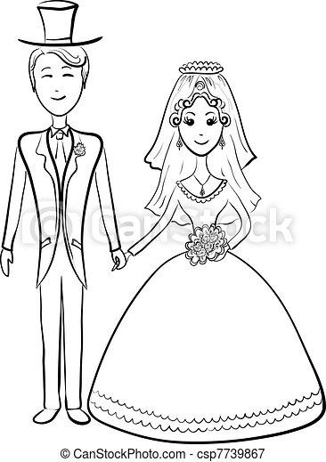 Bride and groom, contours - csp7739867