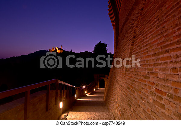 Illuminated Pathway At Twilight - csp7740249