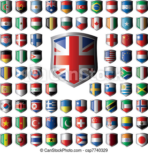 Shiny shield flags with metal frame collection -  vector illustration. Isolated abstract object against white background. - csp7740329