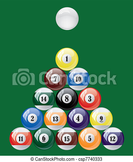 Vector set of glossy pool balls. Abstract billiard on green background. - csp7740333
