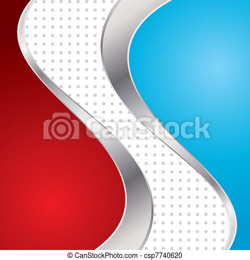 Vector illustration colorful abstract background. Trendy blue and red wave with metal frame. - csp7740620