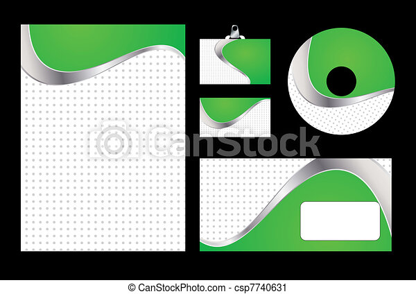 Vector illustration of green corporate identity. Letterhead, business card, compact disc and postcard with abstract green background. - csp7740631
