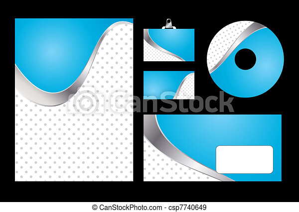 Vector illustration of blue corporate identity. Letterhead, business card, compact disc and postcard with abstract blue background. - csp7740649