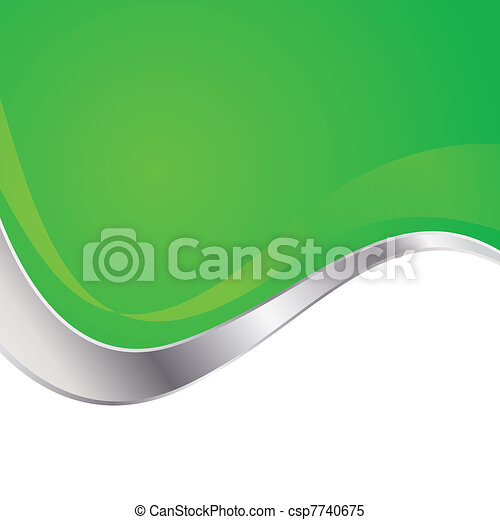 Vector illustration colorful abstract background. Trendy green wave with metal frame. - csp7740675