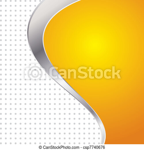 Vector illustration colorful abstract background. Trendy yellow wave with metal frame. - csp7740676