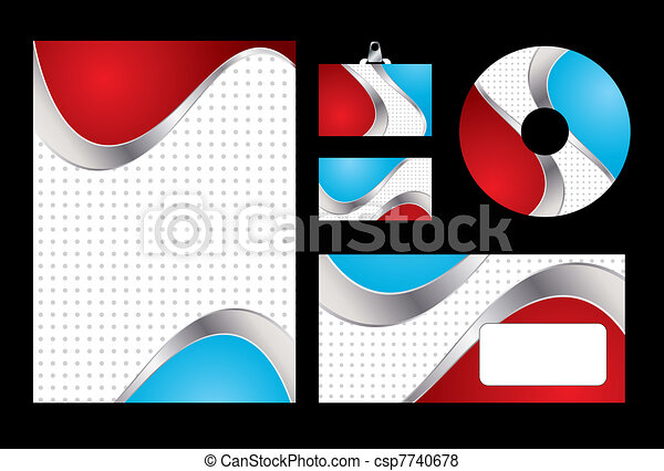 Vector illustration of red and blue corporate identity. Letterhead, business card, compact disc and postcard with abstract red and blue background. - csp7740678