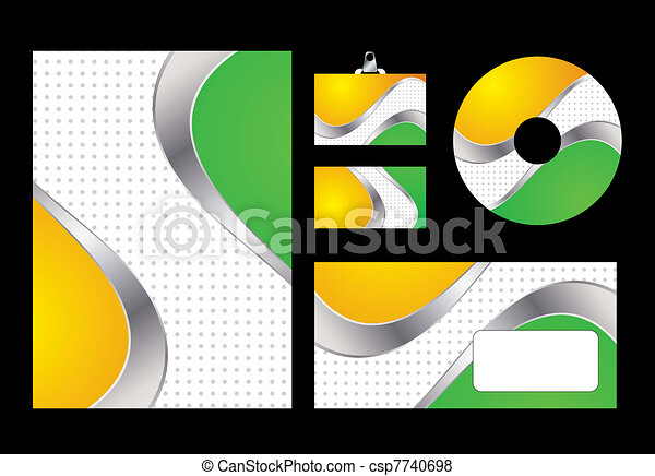 Vector illustration of green and yellow corporate identity. Letterhead, business card, compact disc and postcard with abstract green and yellow background. - csp7740698