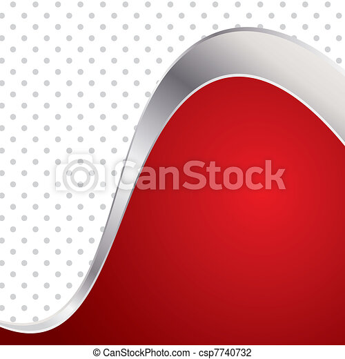 Vector illustration colorful abstract background. Trendy red wave with metal frame. - csp7740732
