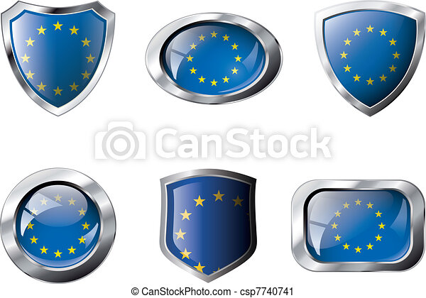 Europe union set shiny buttons and shields of flag with metal frame - vector illustration. Isolated abstract object against white background. - csp7740741