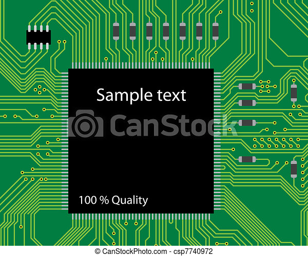 Green circuit board vector illustration. Abstract technology background - next science future. - csp7740972