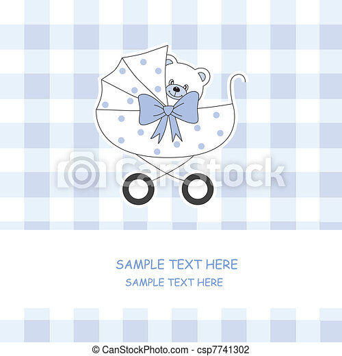 Baby carriage with a teddy bear - csp7741302
