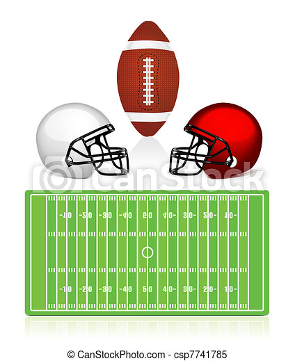 american football field, ball and helmet - csp7741785
