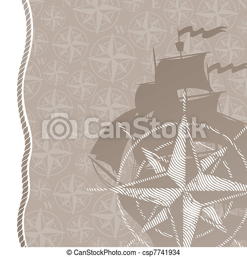 Travel and adventures vector background with compass rose & sail ship - csp7741934