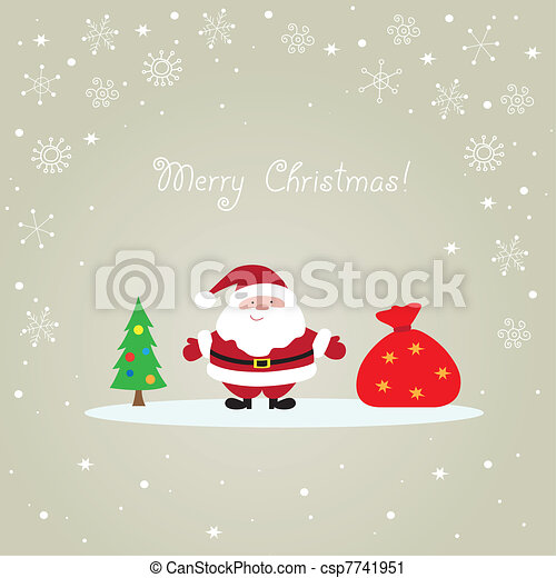 Santa Claus Christmas card - csp7741951