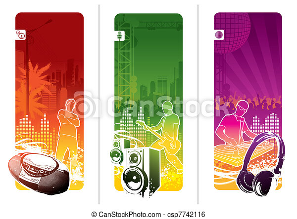 Vector banners - Urban musical youth culture - csp7742116