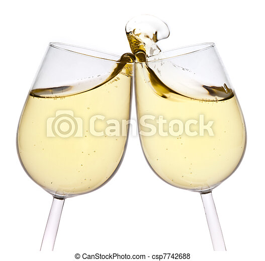 Merry Christmas and happy New year. Pair of champagne flutes making a toast, isolated on white background. - csp7742688