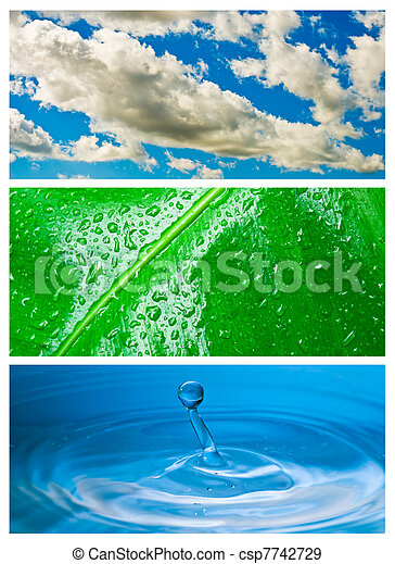 Environmental theme abstract background - gray clouds and blue sky, green leaf with rain drop, blue water drop splash in water. - csp7742729