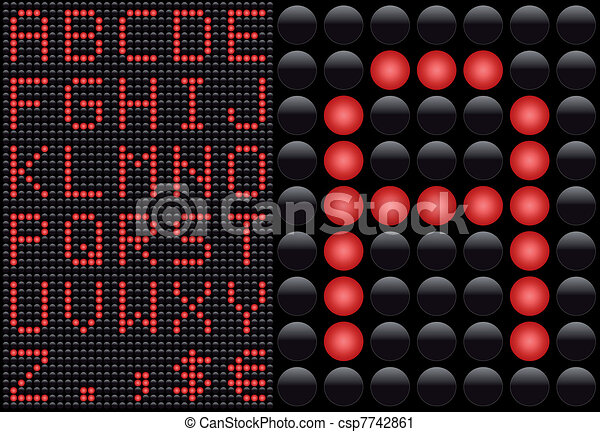 Vector LED - light emitting diode - info panel. Score board style letters. - csp7742861