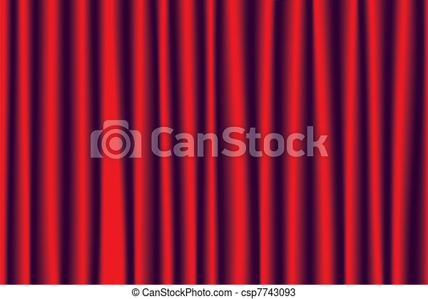 Vector red velvet theater curtains - csp7743093